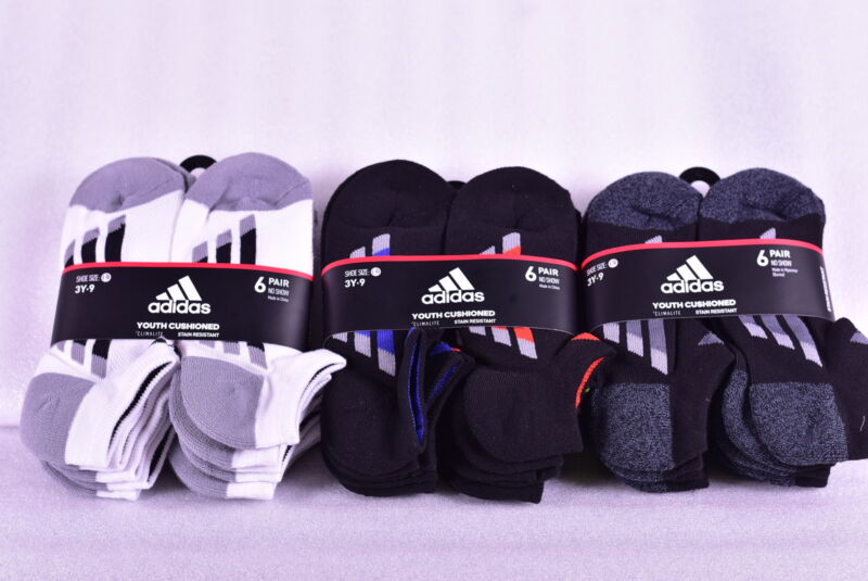 6-Pair Youth Adidas Cushioned No Show Socks - Choose Color & Size