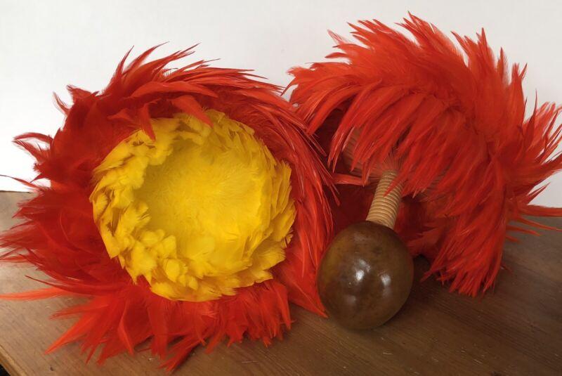 Uli Uli Hawaii Gourd Rattles Hula Dance Music Instrument Feather Maraca EUC