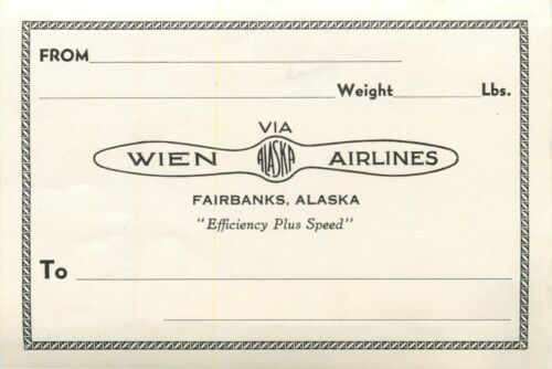 WEIN ALASKA AIRLINES ~Fairbanks~ Old Mailing / Luggage Label, c. 1955