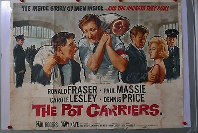 *UK QUAD* THE POT CARRIERS 1962 MOVIE POSTER 40X30 ORIGINAL FOLDED AUTHENTIC...