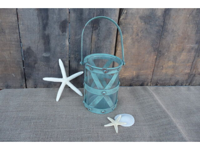Turquoise Aqua Metal Candle Lantern Nautical Beach