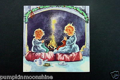 #H894- Vintage Unused Erica Von Kager Xmas Greeting Card Knitting by the Fire