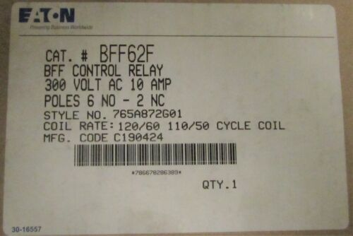 EATON CUTLER HAMMER BFF62F 300VAC 10AMP Control Relay 110 120v 765A872G01