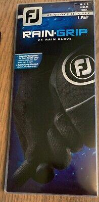 Footjoy Men's Rain Grip Golf Gloves - 1-Pair - Black Regular Small