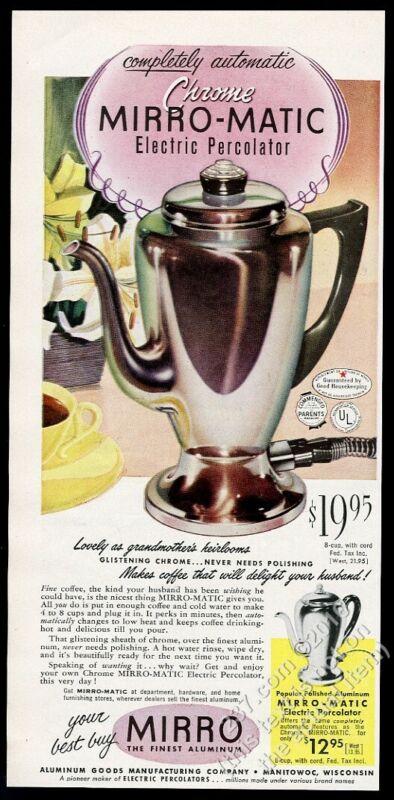 1953 Mirro Matic coffee percolator color photo vintage print ad