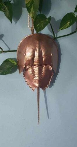 14 in long HORSESHOE CRAB Painted Living Fossil of Atlantic Ocean Rose Gold
