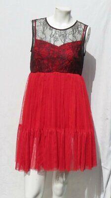 Halloween Kostüm Damen Rot & Schwarz Netz Spitze - Baby Halloween Kleid
