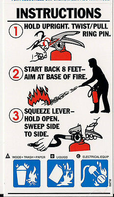 Lot Of 5..abc Fire Extinguisher Pictorial Operating Signs...3 X 5 14 New