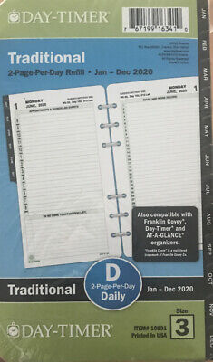 Day-timer 2-page-per-day Reference Planner Refill Portable Size Item 10801 New