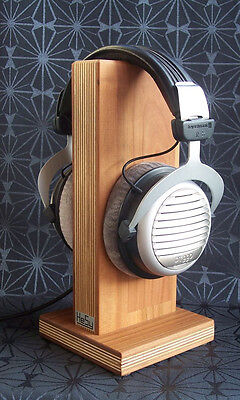 Cherry Headphone - HeSy Headphone Stand Holder handmade from birch plywood with solid cherry wood