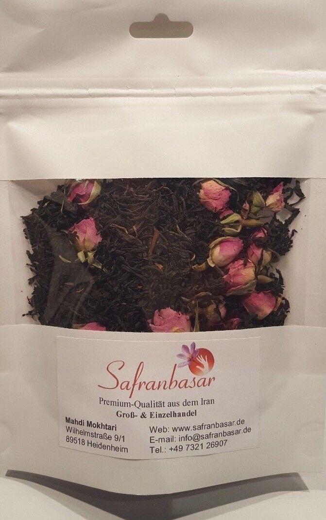 Persische Teemischung 50 g Schwarztee mit Safranfäden und duftende Rosenknospen