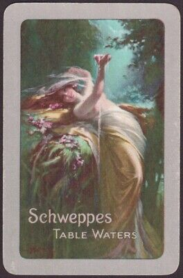 Playing Cards Single Card Old Vintage SCHWEPPES GIRL Advertising TABLE WATERS E
