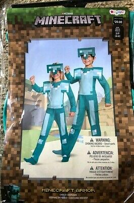 Minecraft Kids Costume (Licensed Minecraft Armor Classic Jumpsuit Video Games Costume Child Boys Girls)