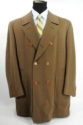 Canali Italy Peacoat Short Overcoat Double Breasted Wool Tan Light Brown 50 R