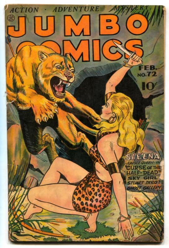 Jumbo Comics #72 1945- SHEENA cover- Matt Baker G+