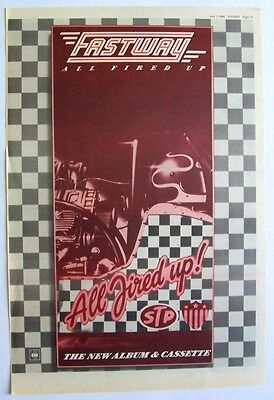 Fastway 1984 Poster Ad All Fired Up Fast Eddie Clarke