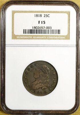 1818 B-2 NGC F15 Bust Quarter