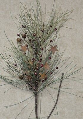 COUNTRY NEEDLE PINE BRANCH PICK SPRAY With PINECONES, BERRIES AND RUSTY STARS - Needle Pine Pick