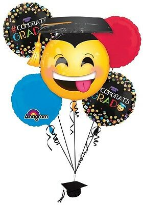 Graduation Balloon Weights (GRAD Graduation Smiley Emoji Awesome Hat Red Party Mylar Balloons Set Weight)