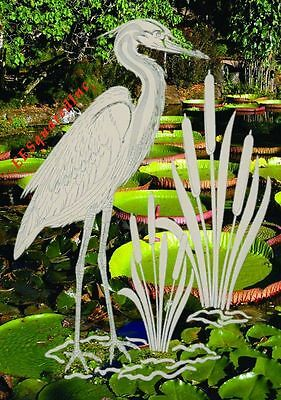 Egret Left Static Cling Window Decal OVAL 15x23 Tropical Bird Decor for Glass