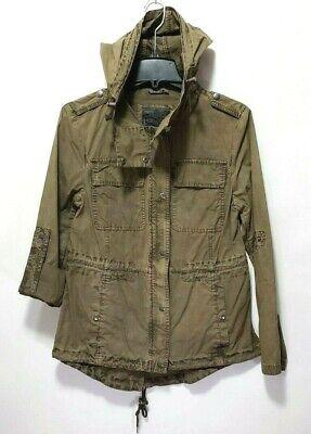 Levi's Green Drawstring Military Jacket Light Weight Parka w/ Roll Up Sleeve S Lightweight-parka