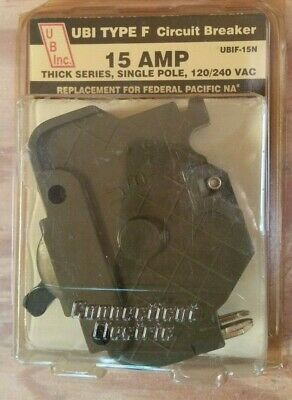 Federal Pacific 15 Amp Thick Series Single Pole Type F Ubi Circuit Breaker