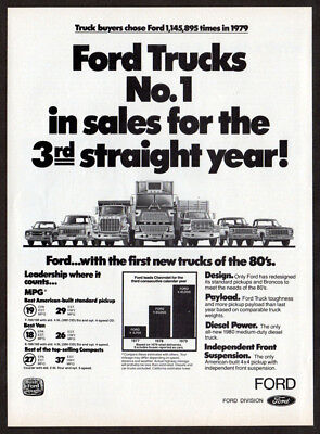 1980 FORD Trucks Vintage Original Print AD - #1 in sales for 3rd straight year