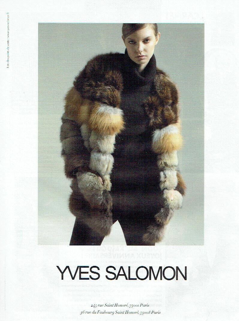 Publicité advertising 920  2011   fourrures yves salomon paris