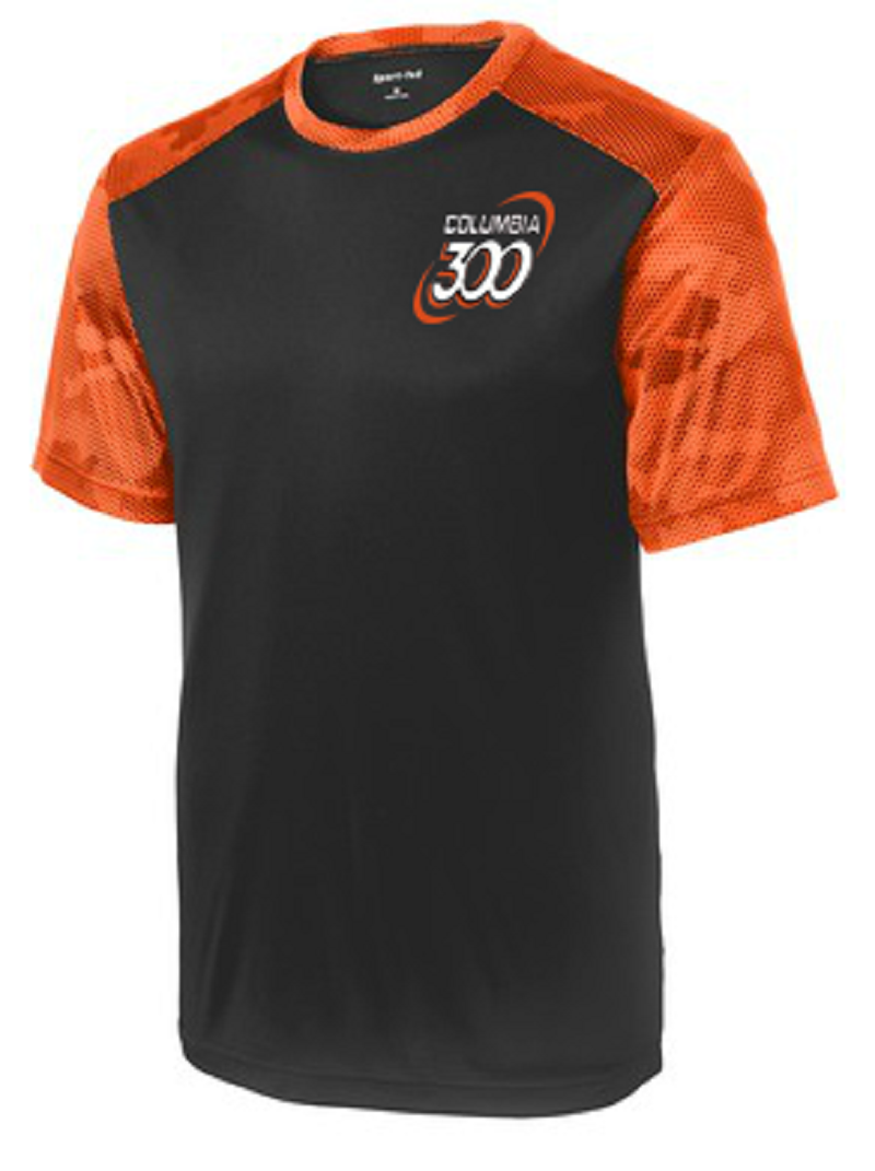 Columbia 300 Men's Camo Performance Crew Bowling Shirt Dri-fit Black Orange