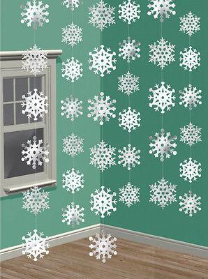 6 X Hanging Schneeflocken Schnüre Weihnachten Schneeflocke Partydekorationen ()