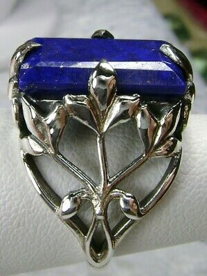 6ct Natural Baguette Cut Blue Lapis Solid Sterling Silver Filigree Ring Size 11