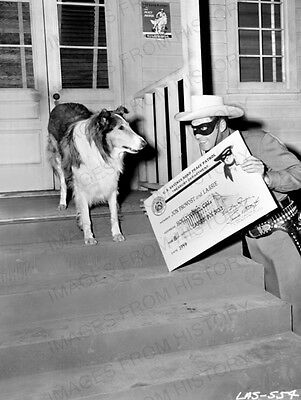 8x10 Print Clayton Moore Lone Ranger with Lassie 1959 #2016928