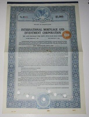 1927 International Mortgage And Investment Corp Bond Certificate   Maryland
