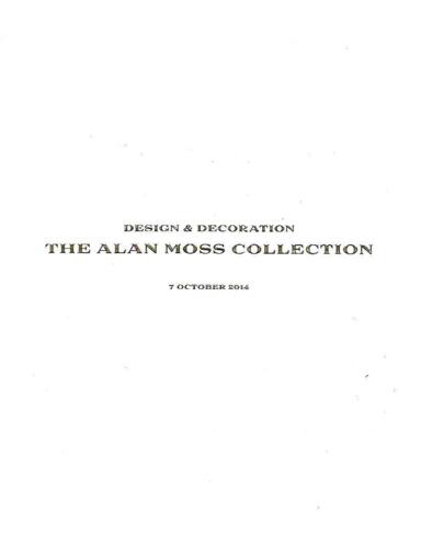 Wright Design & Decorations The Alan Moss Collection Auction Catalog 2014
