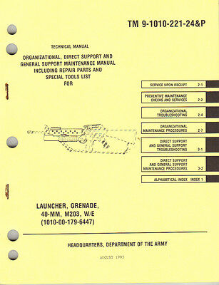 Used, Grenade Launcher, 40MM, M203, Maintenance and Repair Parts Manual (1985 edition) for sale  Shipping to Canada