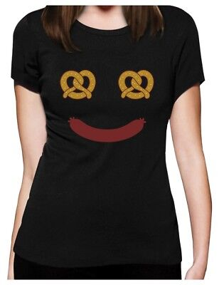 Oktoberfest Costume Food Face Funny Halloween Women T-Shirt Pretzel & Hot Dog - Dog Oktoberfest Costume