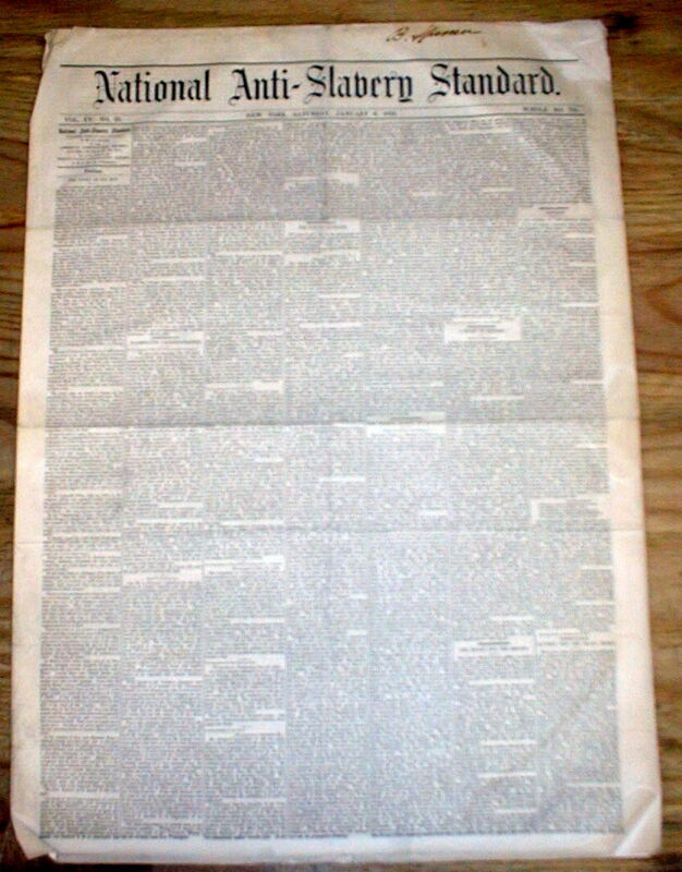 RareOriginal 1866-1869 abolitionist newspaper THE NATIONAL ANTI SLAVERY STANDARD
