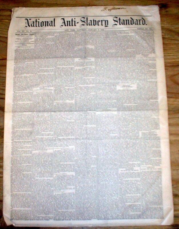 RareOriginal 1866-1869 abolitionist newspaper THE NATIONAL ANTI SLAVERY STANDARD