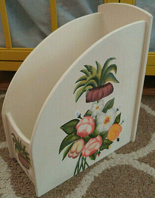 Vintage Wood Wooden Magazine Rack File Box Floral Painted Office Desk Organizer