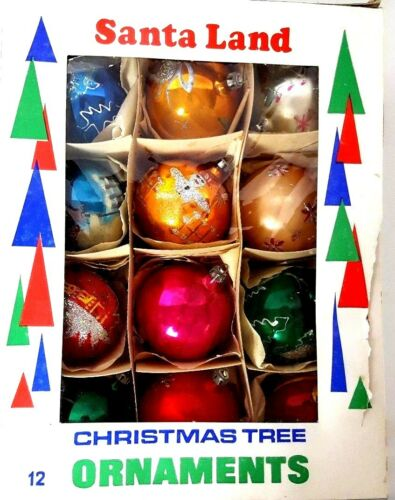 Christmas Tree Ornaments Vintage 12 Hand Decorated Multicolored Made in Poland