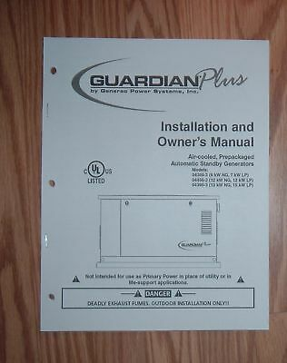 GENERAC GUARDIAN PLUS GENERATOR OPERATORS MANUAL (Guardian Generator Manual)
