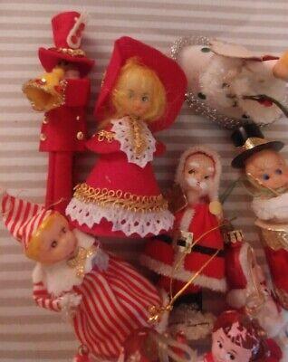 8 VINTAGE CHRISTMAS TREE ORNAMENTS BLOW MOLD FLOCKED PAPER PLASTIC ASSORTMENT