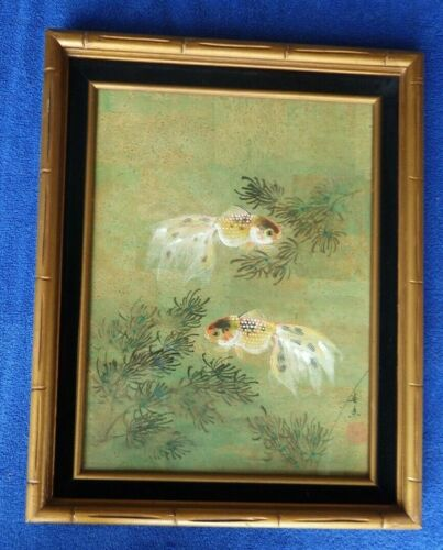 Original Old Vintage Japanese Goldfish Painting Fish Pond Bamboo Frame
