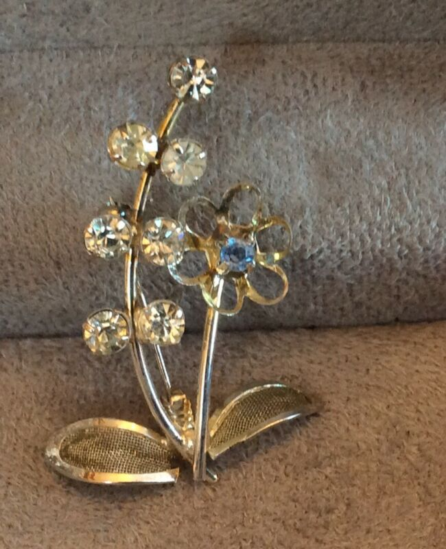 Vintage Brooch Flower Spray Filigree Leaves Rhinestones Silver Tone Clear & Blue