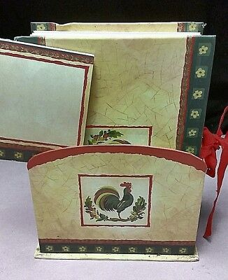 New Seasons 3 Pc Country Kitchen Desk Set Accordion Folder Note Pad Caddy