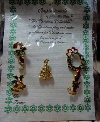 Vintage Christmas Pins on Display Card Set of 5 Wreath Tree Bells Candy Cane
