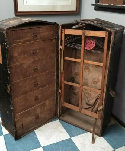 Antique Immigrant Luggage Trunk Wood & Leather Central Trunks Factory