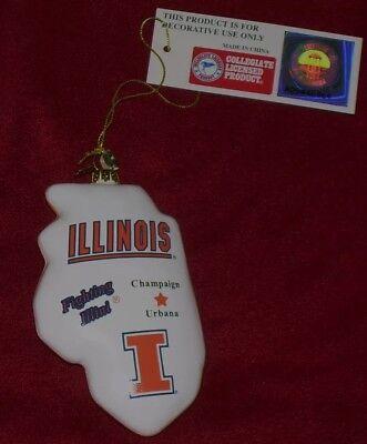(Cherry Designs Blown Glass Illinois Fighting Illini State Ornament Brand New.)