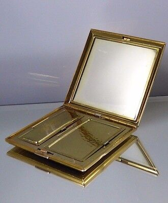 Vintage Square Gold Tone Blush Powder Compact Mirror Etched Lines Vanity