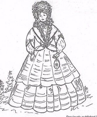 "5.5""ANTIQUE/MINIATURE DOLL HOUSE@VICTORIAN WALKING DRESS UNDERWEAR BOOTS PATTERN"